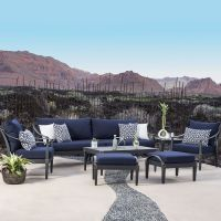Astoria 8 piece Sofa and Club Chair Set in Navy Blue ...