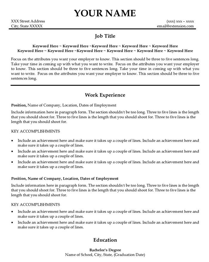 Example Of Job Title In Resume - Examples of Resumes