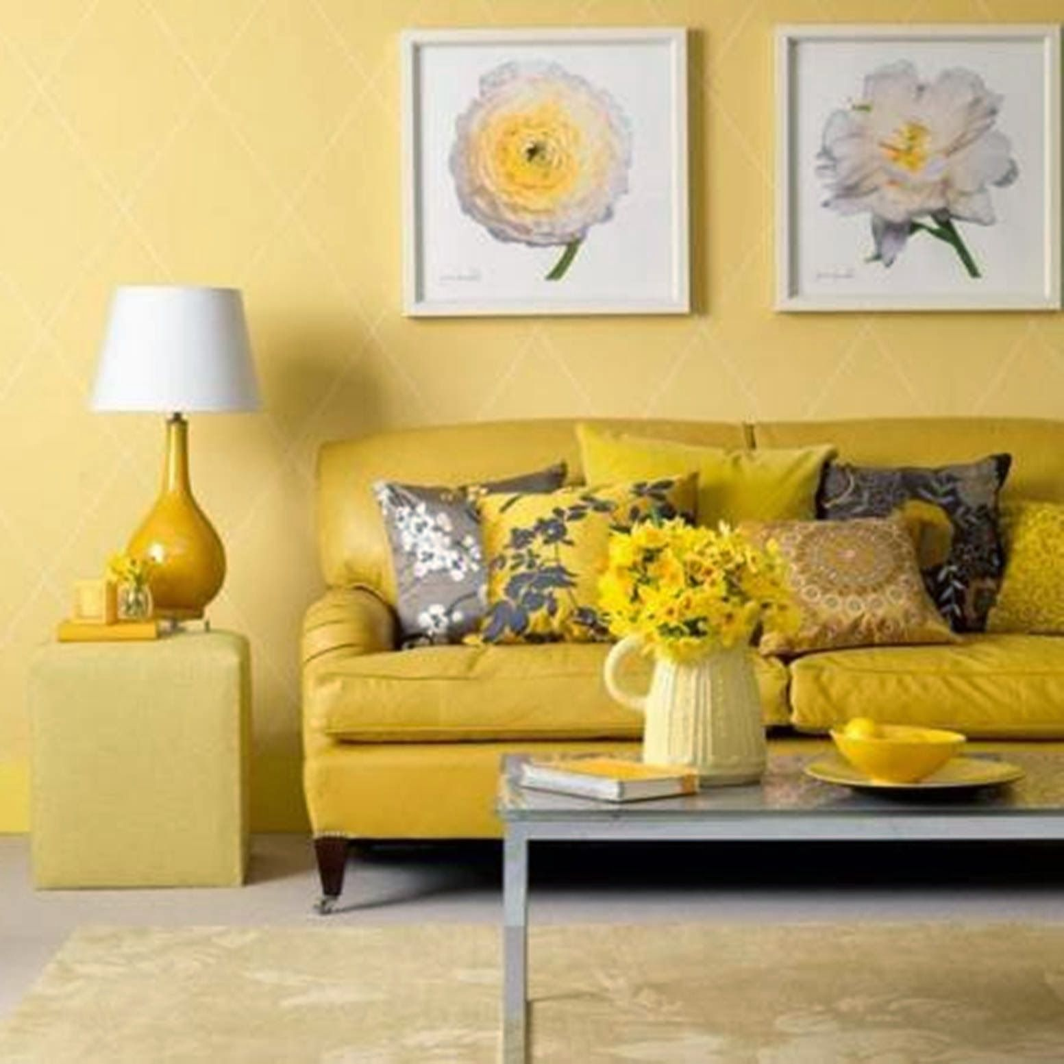 Agreeable yellow wall colors for living room paint ideas with white artwork over couch in girls areas decors also lovable rose portray faux leather two seater rh pinterest