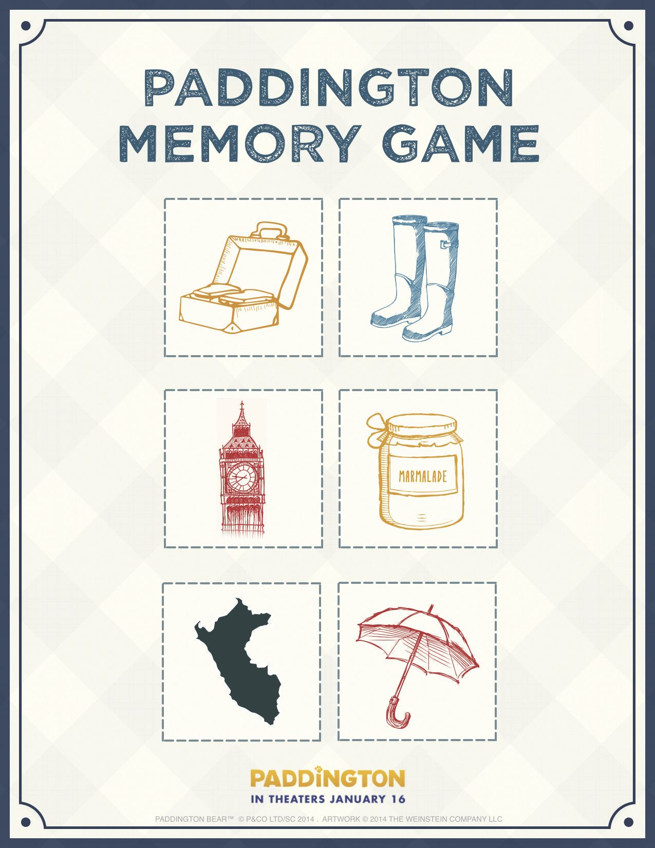 Paddington Bear Memory Game Free Printable