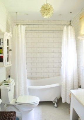 White Bathroom Shower Over Freestanding Bath Subway Tiles With