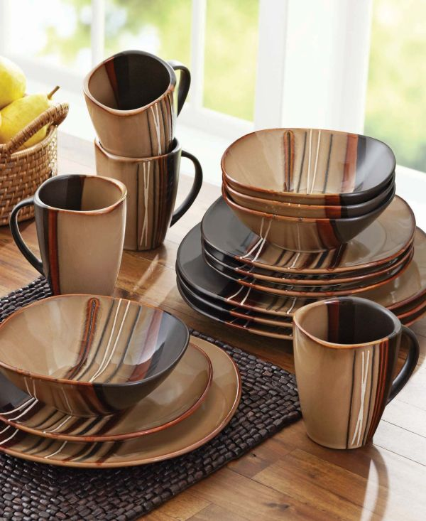 Homes And Gardens Bazaar Brown 16-piece Dinnerware Set