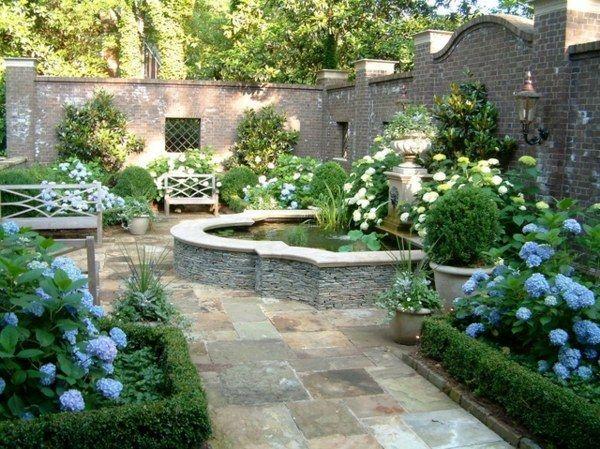 Secret Garden Design Idea Small Pond Flowerbeds Wooden Bench High
