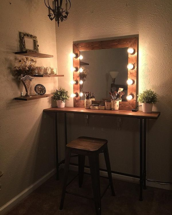 Rustic DIY Vanity Makeup Mirror with Lights