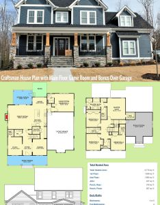 Architectural designs craftsman house plan vv has  sturdy front porch with stone and timbers also main floor game room rh pinterest