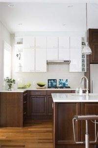stained lower cabinets white upper cabinets - Google ...