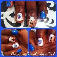 OKC Thunder basketball inspired nail art design | Nail ...