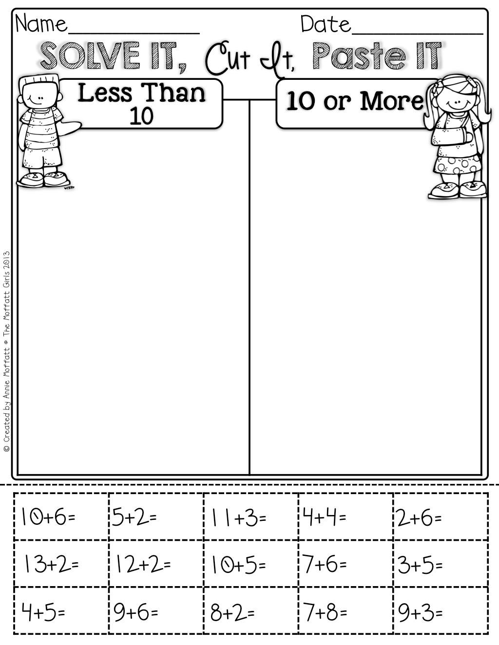Equal Sign First Grade Worksheet