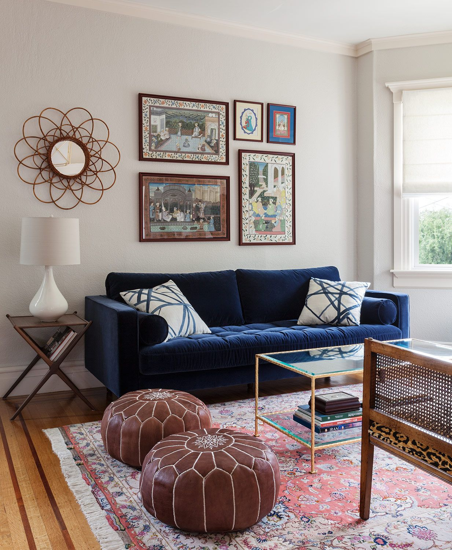 blue velvet sofa living room ideas black sectional christy allen designs san francisco noe valley project