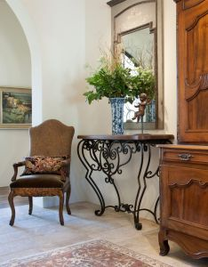 Biblical stone floors combined with european antiques reads simply elegant in this paradise valley entry also rh pinterest