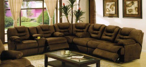 Sectional Recliner Sofa With Cup Holders In Chocolate Microfiber