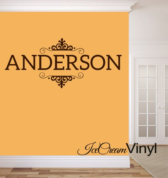 Family name wall decal personalized last monogram for living room home decor vinyl letters also rh pinterest
