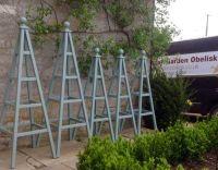 5 wooden garden obelisks painted Castle Grey by Farrow ...