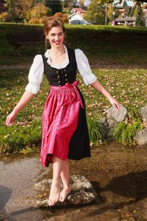 Happy Beautiful Woman In Dirndl