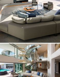 Inside this modern house there    living room with double height ceiling throughout also the lions view by arrcc and saota brushed stainless steel rh pinterest