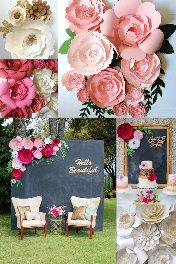 Mid south brides feature of paper flower walls and wedding decor paperflora also www rh pinterest
