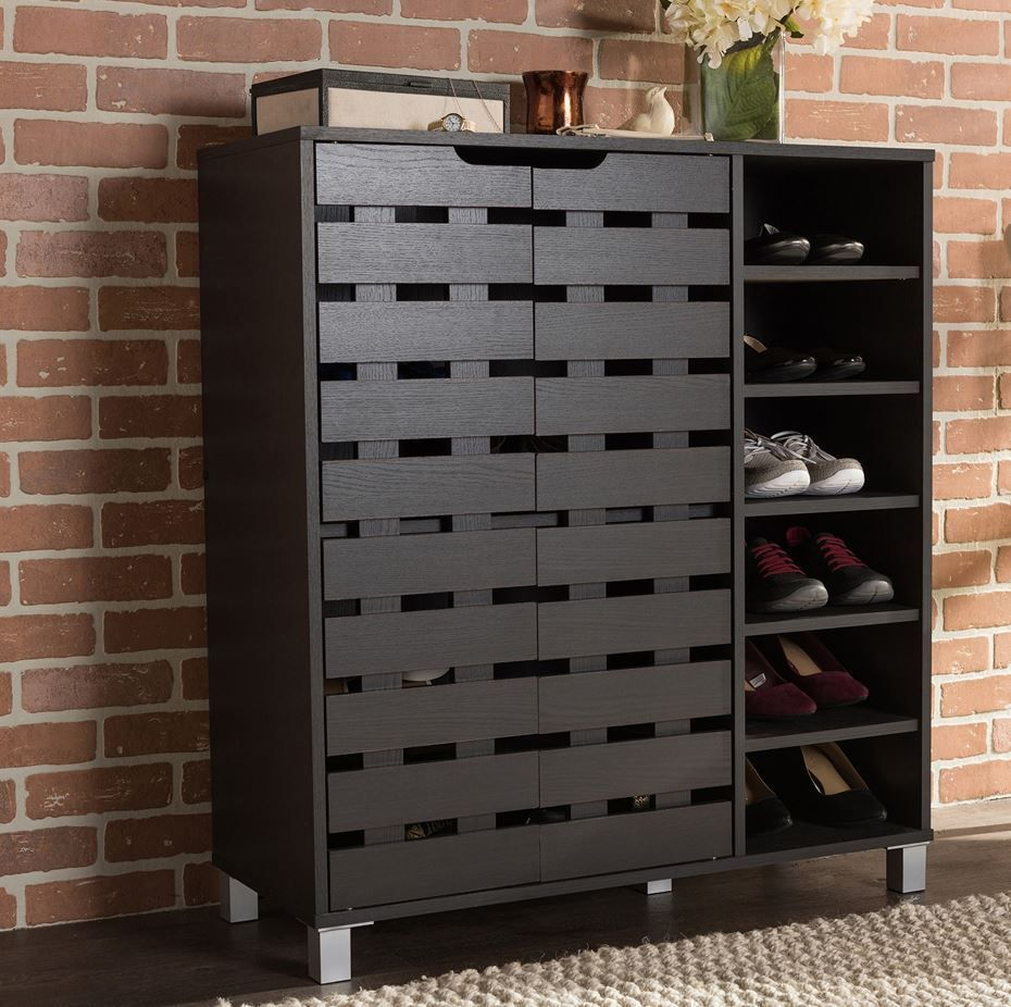Wood 18 Pair Shoe Cabinet Storage Rack Organizer Entryway