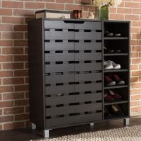 Wood 18 Pair Shoe Cabinet Storage Rack Organizer Entryway ...