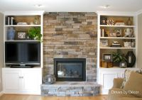 Built ins around stone fireplace.... Exactly what I want ...