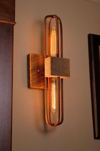 Rebar and Barn Wood Sconce/Vanity Light Fixture in Rubbed ...