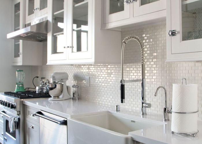 White kitchen cabinets glass doors dark wood floors backsplash mini subway also