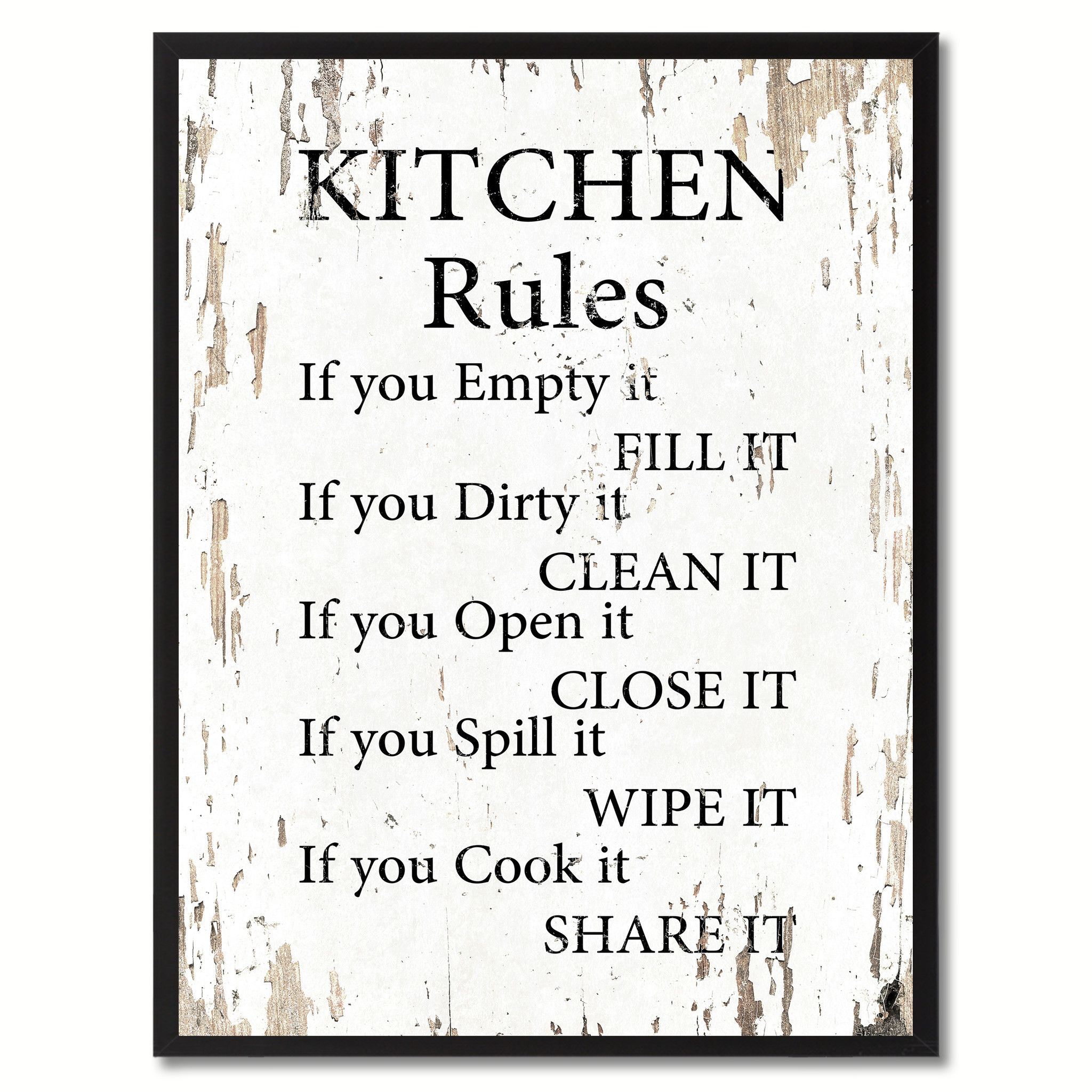 Kitchen Rules Saying Canvas Print Black Picture Frame