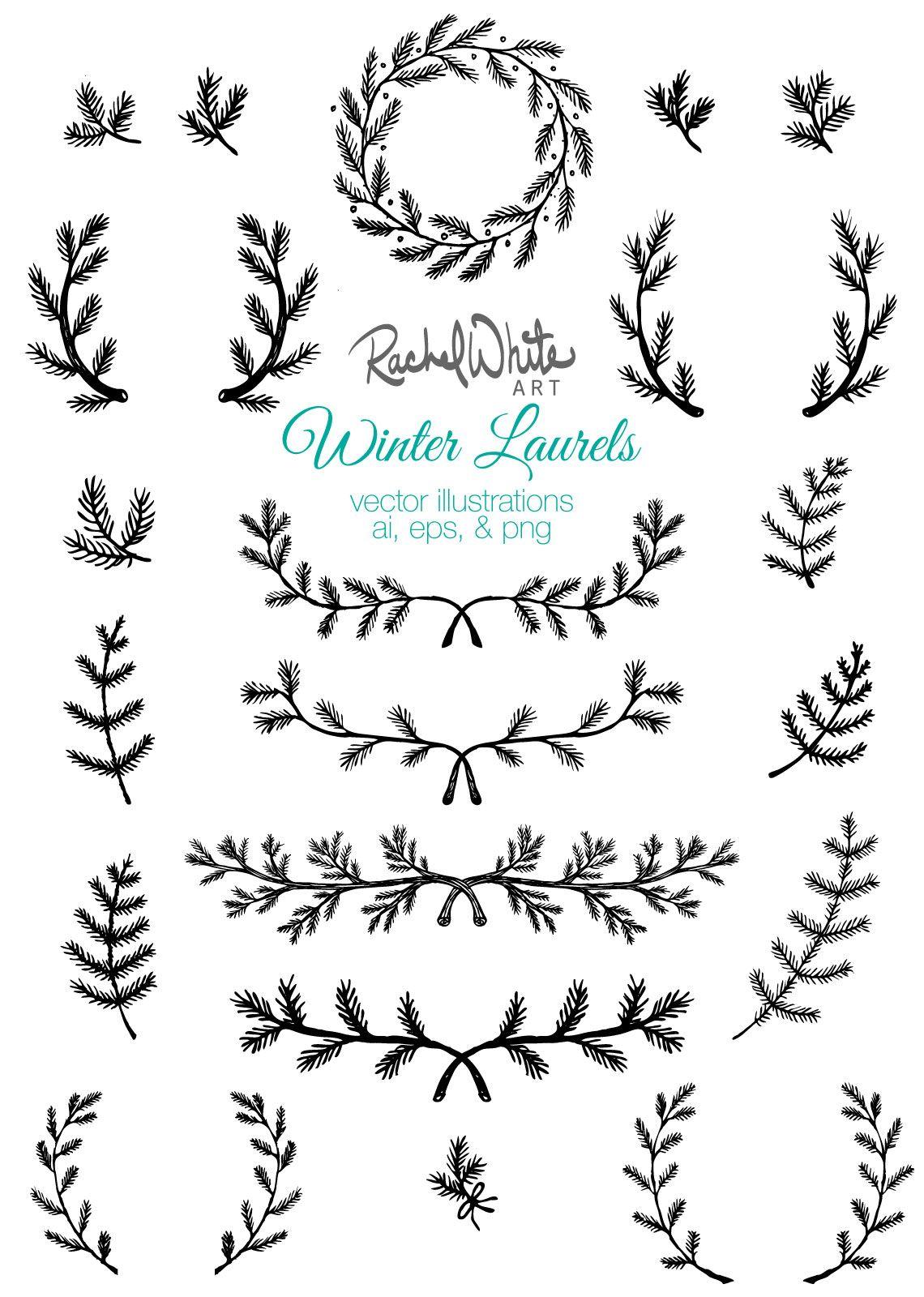 Winter Laurels Vector Illustrations From Rachelwhitetoo