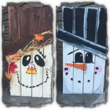 Two Sided Pallet Scarecrow Snowman Projects