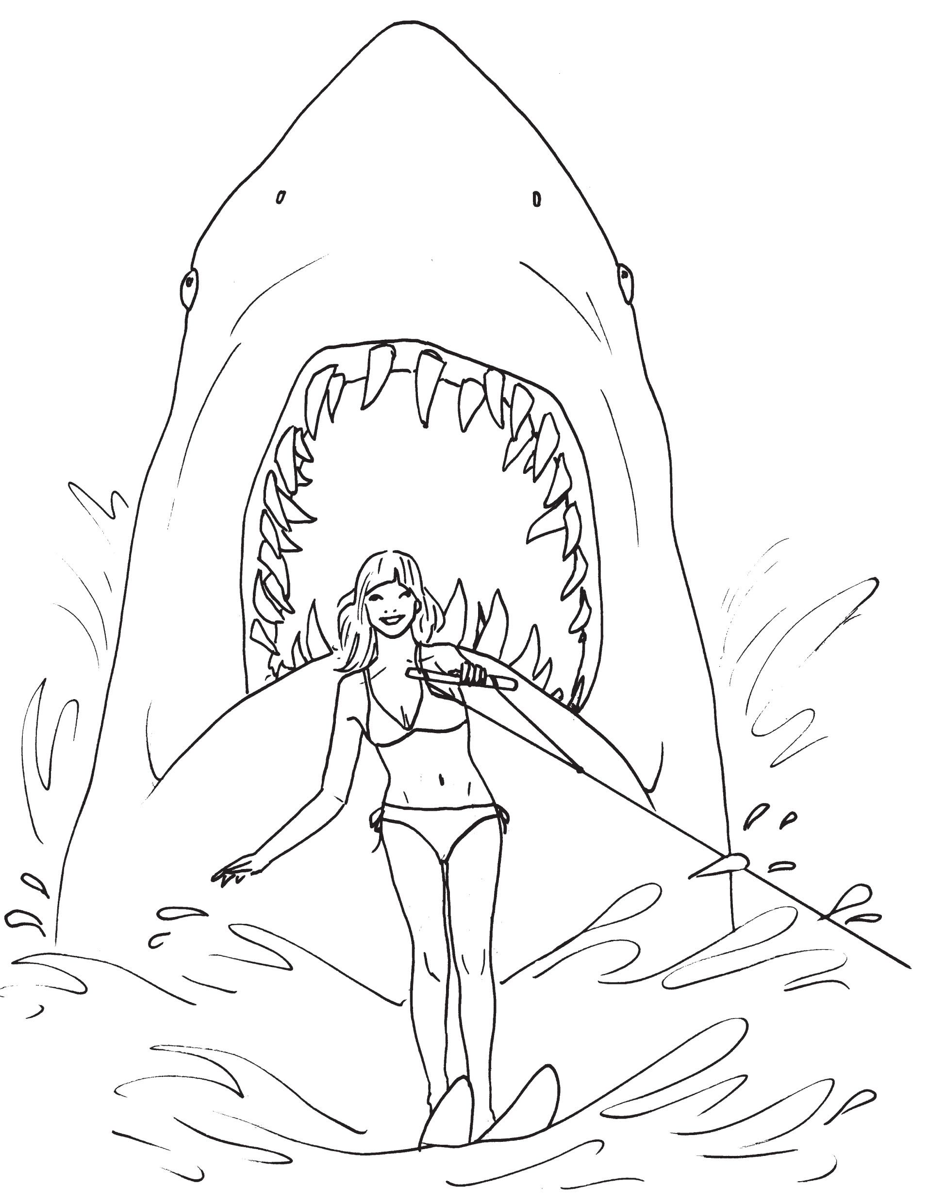 Fantastic Great White Shark Coloring Page