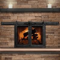 Paterson Sliding Masonry Fireplace Door | Interior barn ...