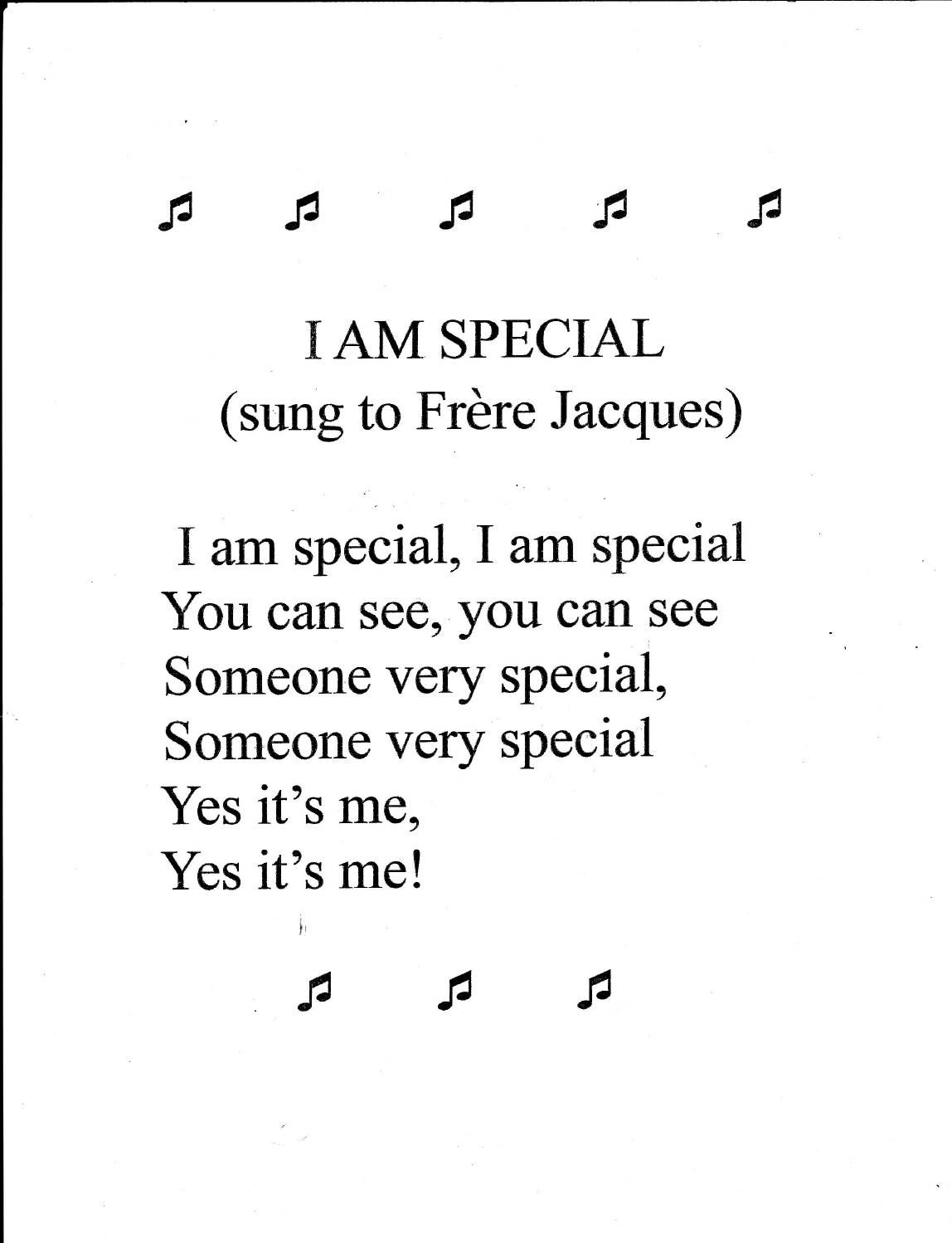 Preschool Song I Am Special