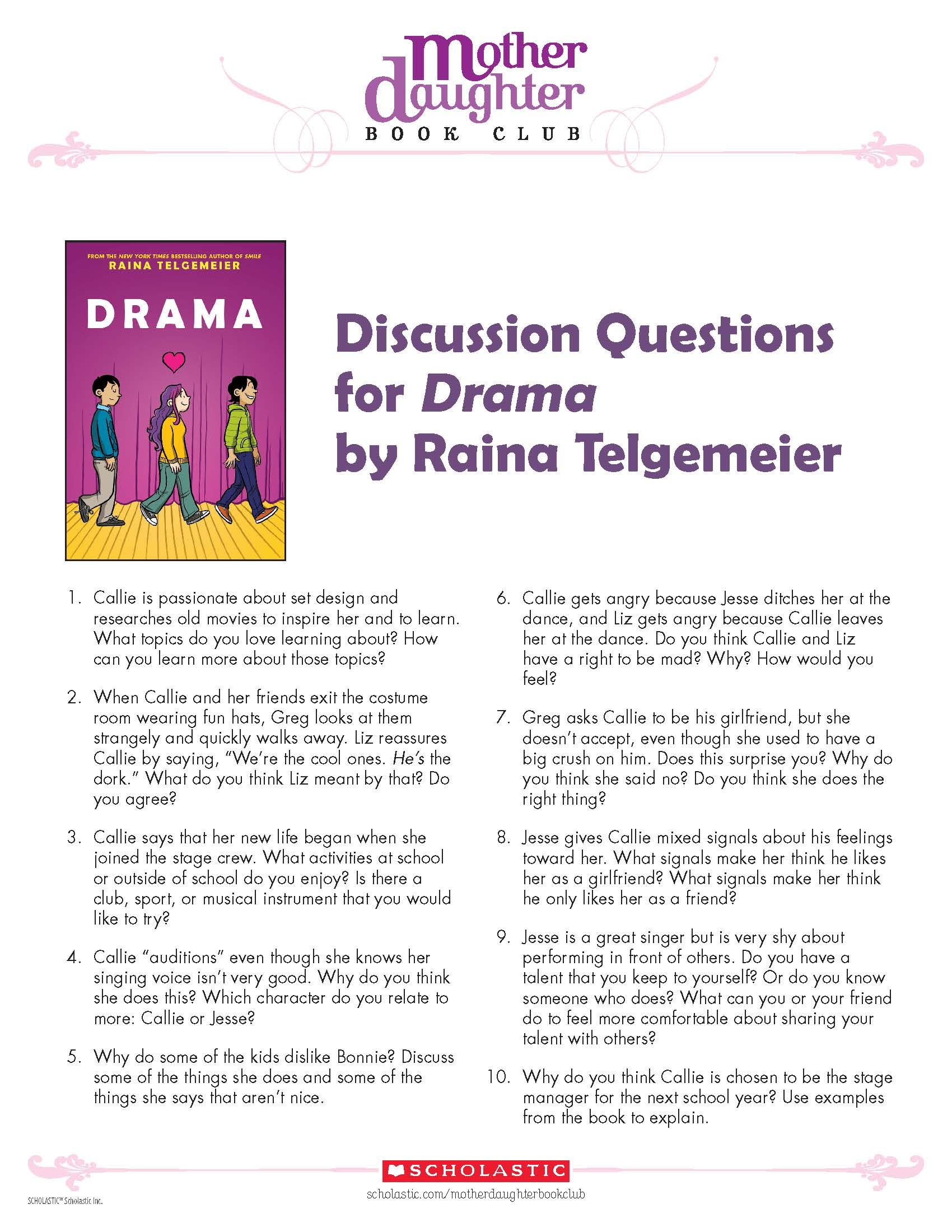 Discussion Questions For Drama By Raina Telgemeier
