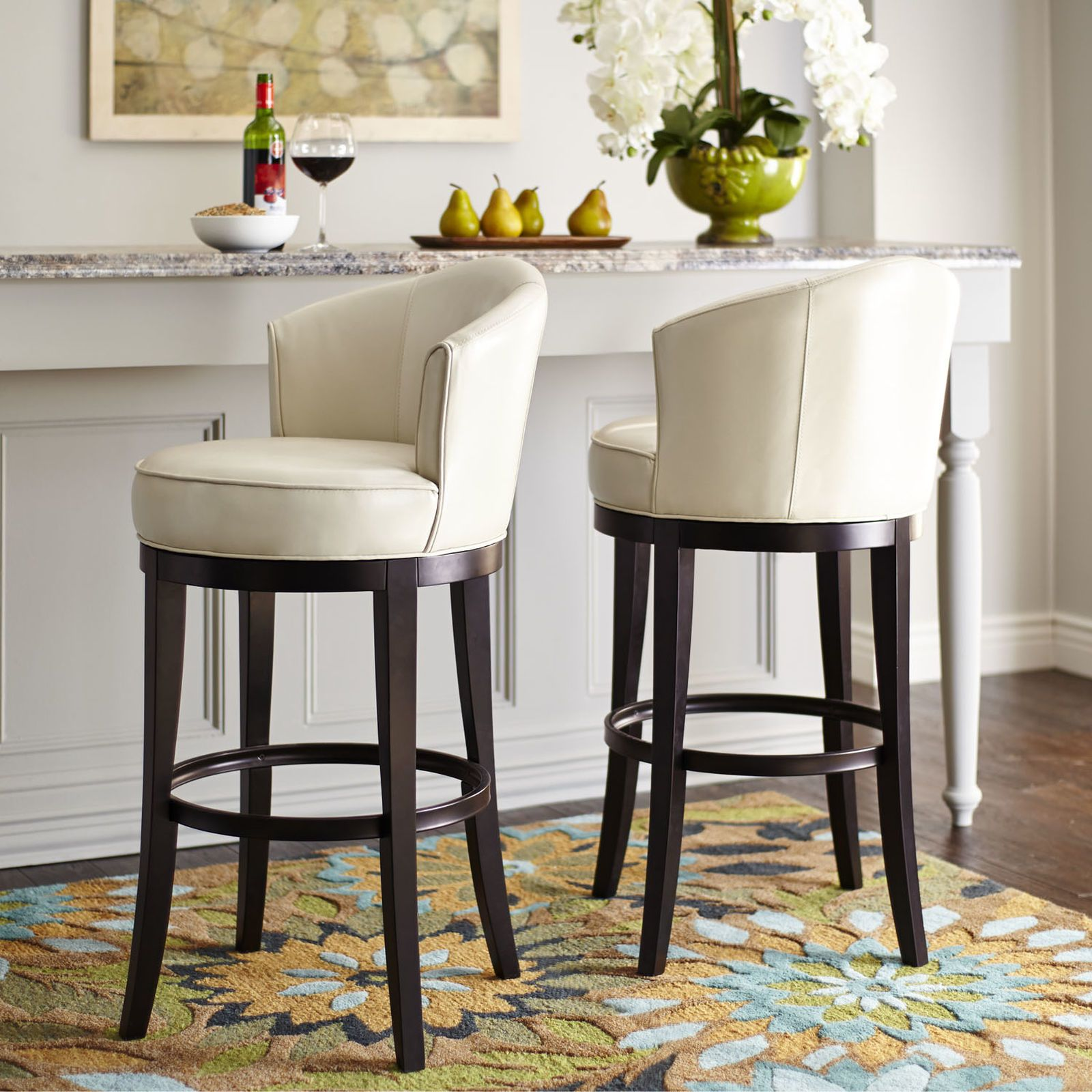 kitchen island chairs with backs cabinet styles isaac ivory swivel bar stool spin retro and rounding