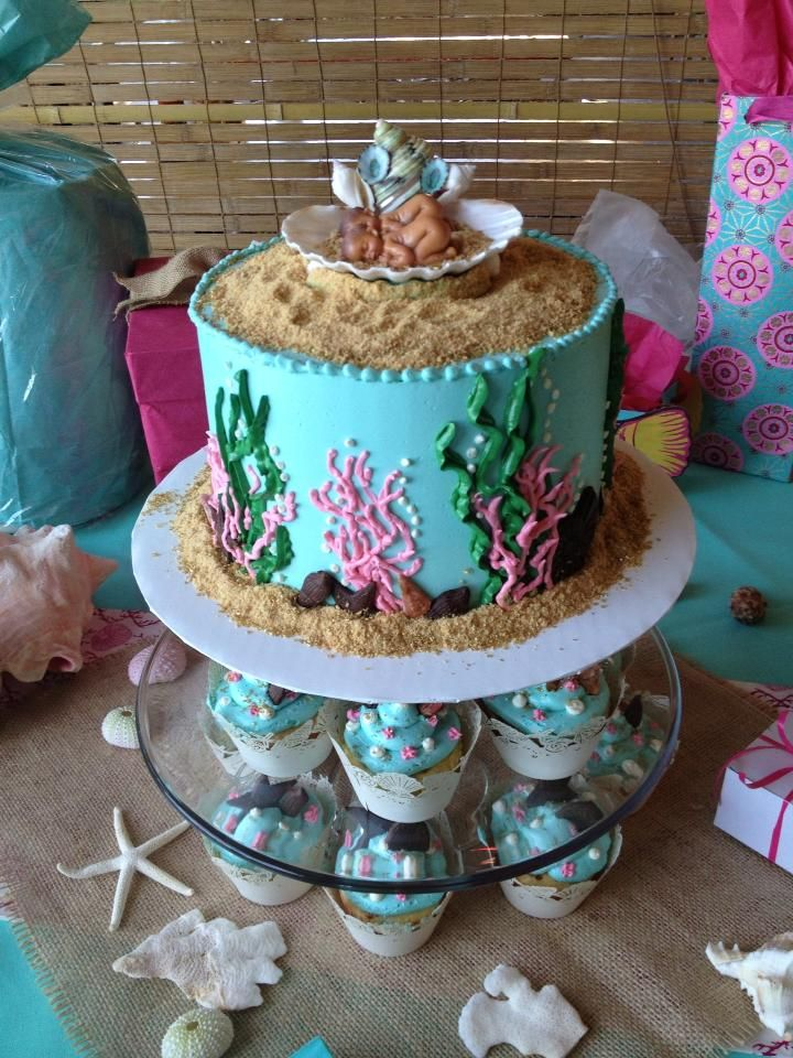 Sea theme baby shower cake for twins