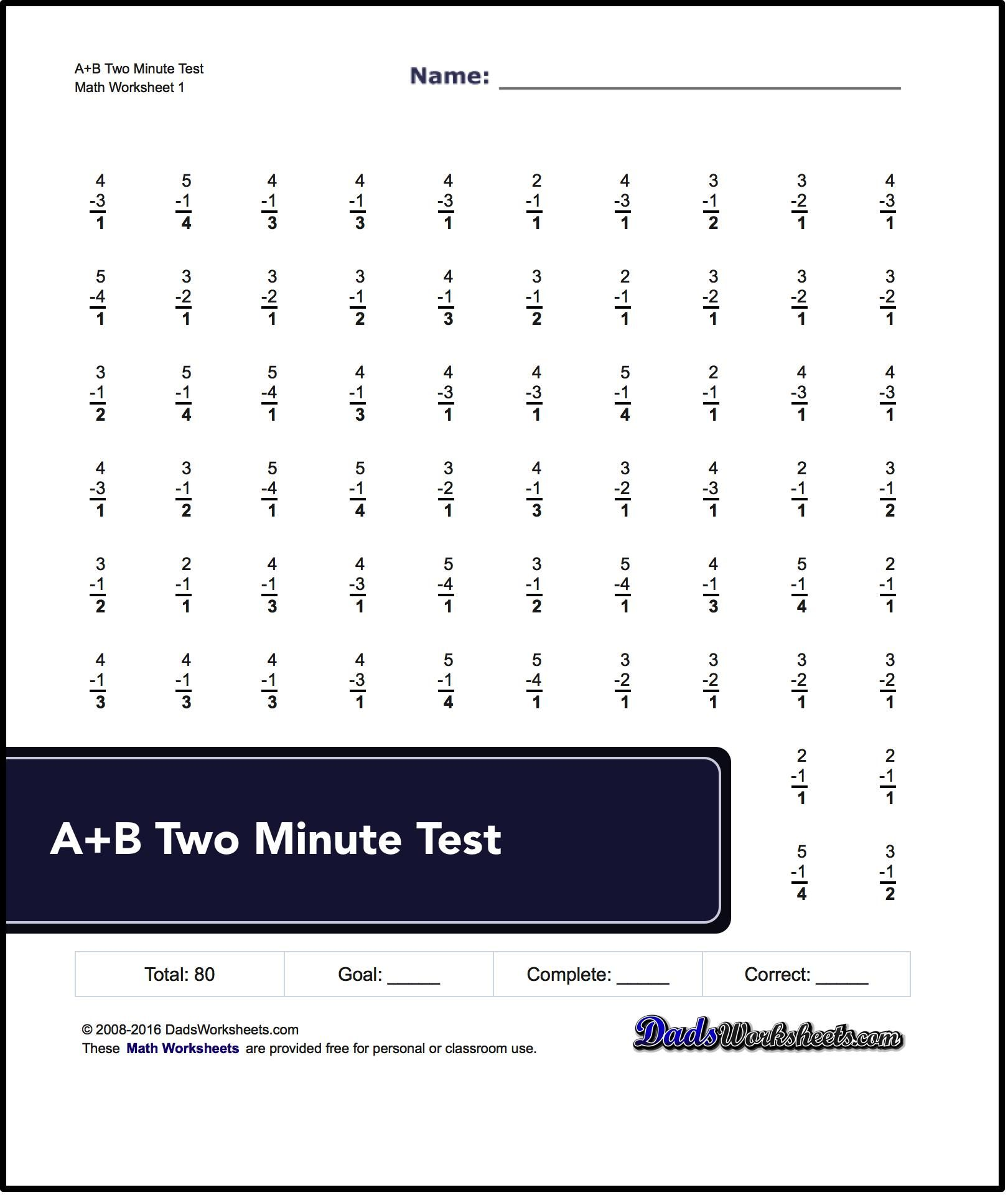 Two Minute Versions Of The Spaceship Math Subtraction Worksheets With 80 And 100 Problems Per