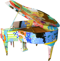 "Hand Painted Pop Art Piano ""Artistic Duo"" 