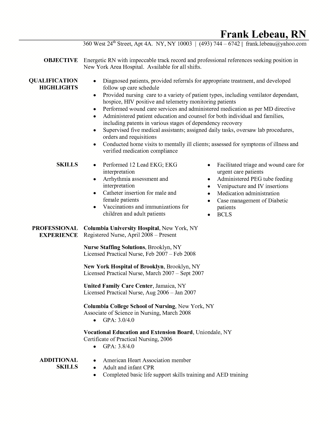 Nurses Resume Format Samples Resume For Triage Nurse Http Resumecareer Info