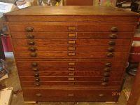 Antique Oak Architect Blueprint Flat File Cabinet Incline ...