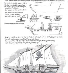 how to draw worksheets for young artist how to draw a pirate ship schooner ship diagram easy pirate ship diagram [ 1163 x 1600 Pixel ]