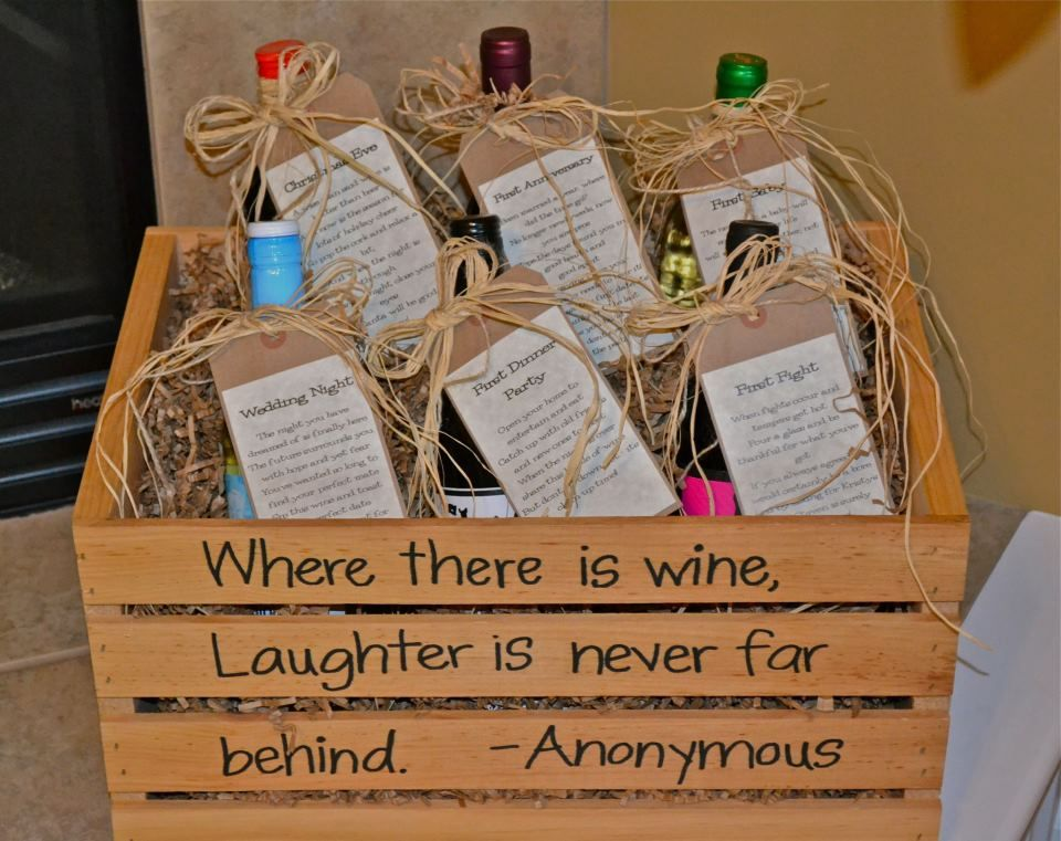 Wine Basket Bridal Shower Gift + Printable Poem Gift Tags