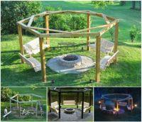 DIY Circular Pergola With Swings And Firepit | Swings fire ...