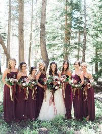 Fall wedding inspiration! Maroon bridesmaids in Long Wine ...