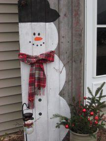 Snowman Painted Barn Door
