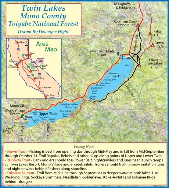 Map of Twin Lakes Mono County CA Sierra Nevada Mnts