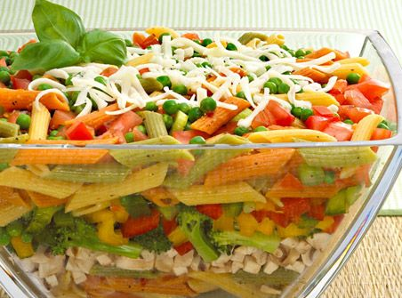 Spring Garden Layered Salad Recipe With Penne Pasta Green Onion