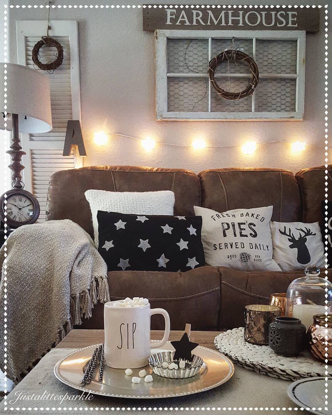 brown sofa room decor outdoor sectional canada rustic living cozy stringlights  our home