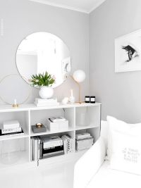 Light grey paint color with white furniture and decor for ...