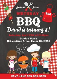 BBQ Birthday Invitation, BBQ Birthday Party, Kids BBQ ...
