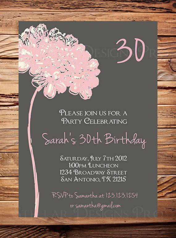 30th Birthday Invite 40th 50th Birthday Adult By