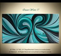Turquoise TEAL PAINTING LARGE Modern Artwork Abstract ...